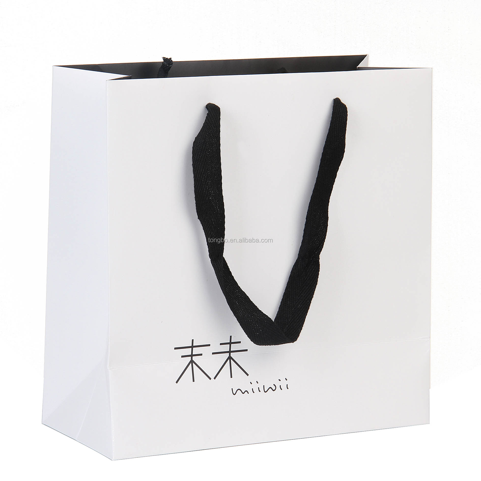 Black Handle White Art Paper Bag Fabric Handles Bag for Cloth Promotion
