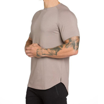 Fashion Hip Hop Extend Long Line Curved Hem Short Sleeve Slim Fit Fitness Gym Clothing Muscle Bodybuilding T-shirt for Men