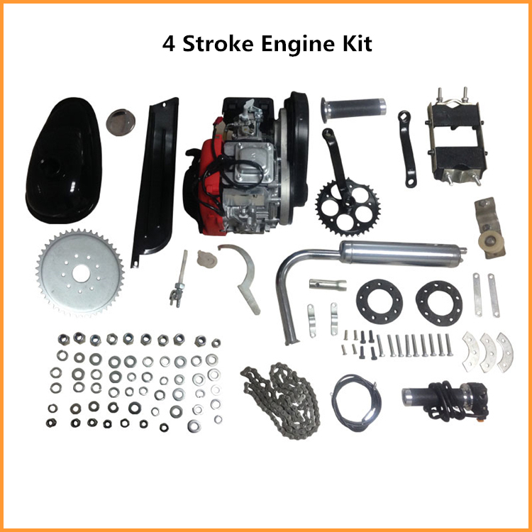 Gasoline petrol 49cc 4 stroke single cylinder motorcycle engine parts gas motorized bicycle kit for sale