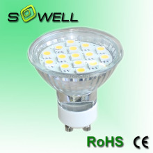 110/230V 2.5W GU10 5050SMD 15pcs 50*62mm CE RoHS glass LED spotlighting