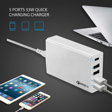 USB Multi Port Quick Charge 3.0, Type C and Smart IC Home Charger with CE Approval