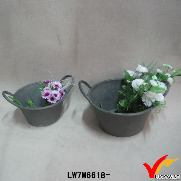 shabby chic decorative garden tin flower pot