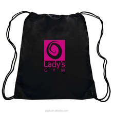 Custom Logo Black Drawstring Cotton Bag
