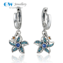 Globalwin Sterling Silver Starfish Earrings Charm With Natural Rhinestone For Girls
