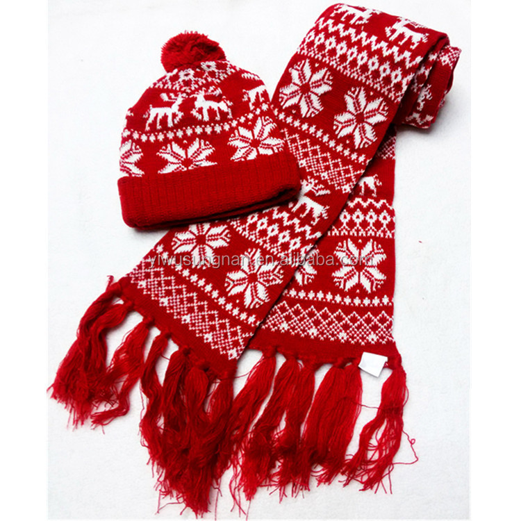 new design deerlet snow hats and scarf for christmas