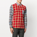 Wholesale mens clothing blue and red cotton checked shirt esoteric style stance latest shirt designs for men