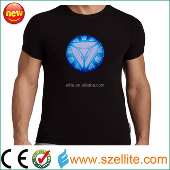 100% Cotton washable sound active factory supply iron man shirt