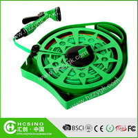 50FT / 15 meters roll flat garden watering hose reel cart with 4 patterns spray nozzle and cheap price