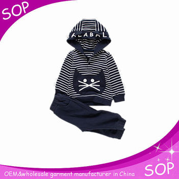 Kids fleece clothing customized thick black hoodie sets children sweatshirts outfit