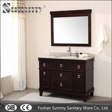 Solid wood Traditional bathroom vanity cabinet with drawers and brass handles
