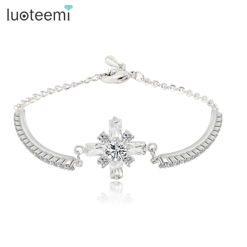 LUOTEEMI Jewelry Yiwu Manufacture White Gold Plated Glittering CZ Cross Bracelet For Women