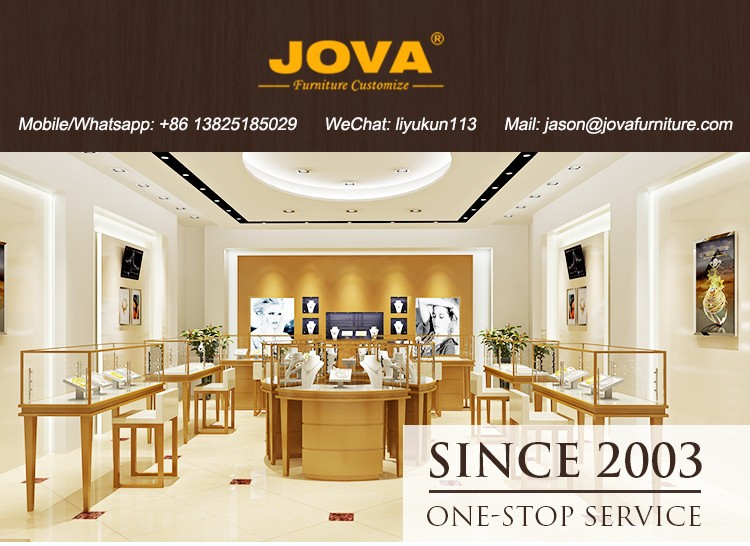 Free design round jewelry showcase jewellery showroom designs