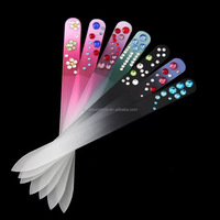 Disposable crystal manicure nail art tools nail shiner buffer bulk glass nail file with diamond wholesale