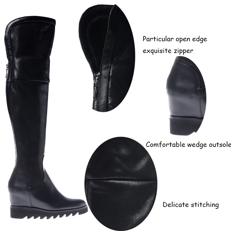 2016 Hot selling high quality italian genuine leather new design fashion ladies winter women wedge long boots