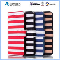 Horizontal Stripes Series Card PU Leather Flip Case Skin Cover Stand for iphone 6