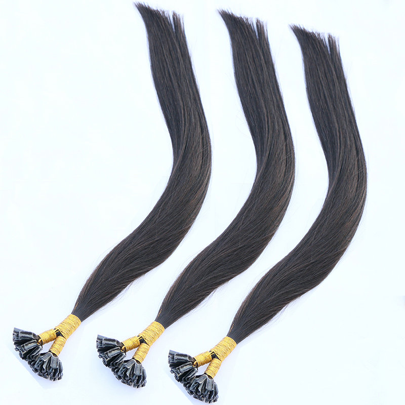 Double drawn natural hair color indian human hair U Tip Hair Weave