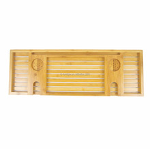100% Bamboo bathtub tray with glass holder and candle slot