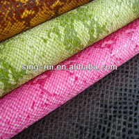 pu leather goods for shoes with snake design