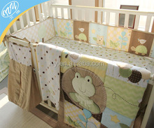 Baby cartoon embroidery applique patchwork crib bedding with bumpers set
