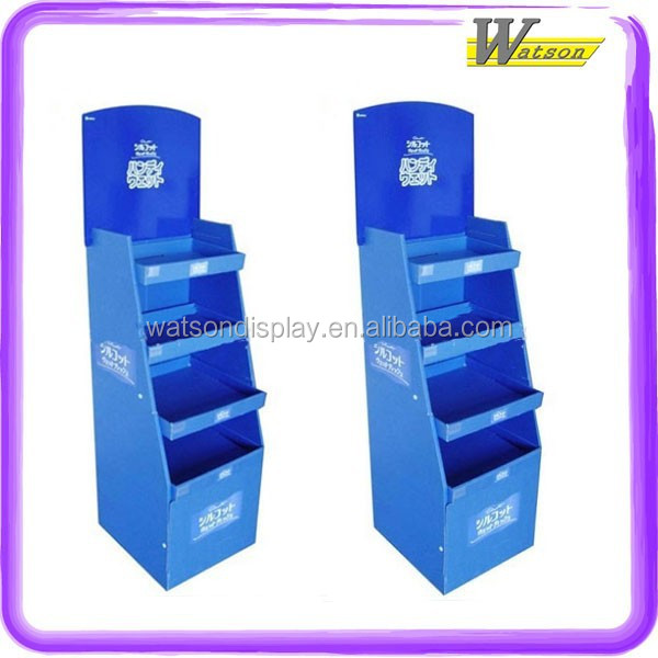 customized CMYK advertising promotion 4 tiers Cardboard warehouse display for packaging boxes for travel mugs
