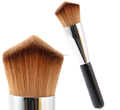 Double angled face foundation cheek brush