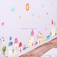 Cartoon houses and buildings wall decal sticker for decoration in stock