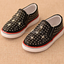 F10081E High quality children leisure shoes shiny PU leather shoes with rivets