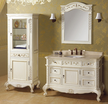 Foshan factory solid wood French style antique white thin tall bathroom vanities