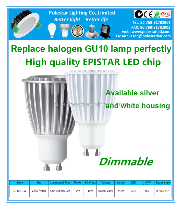 High power dimmable 7w 2835 smd 38/45/60 degree led gu10 led spotlight