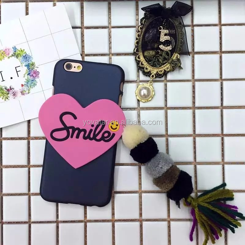 2017 New Product Cute heart smile Fur Ball Tassels Phone Case Cover for iphone 7 colorful Mobile Phone Case