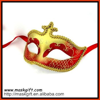 Popular red/gold venetian style mask for evening dresses and carnival costume
