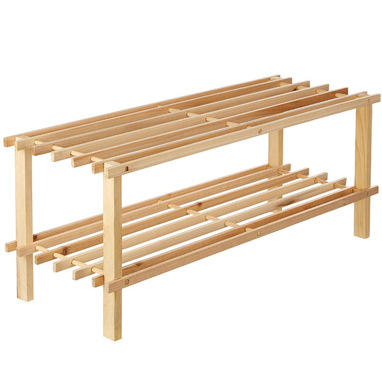 2-Tier Outdoor Custom Slatted Natural Cedar Wood Shoe Rack