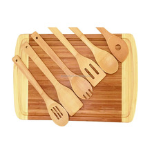 FDA Approved Bamboo Cutting Board with 6-Piece Kitchen Utensils Bamboo Wood Chopping Block with Juice Grooves Beautiful Gift Set