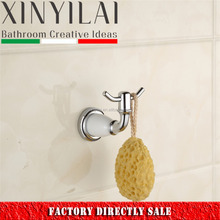 Italian bathroom hanging chrome plated double robe hook