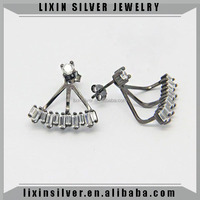 LiXin 925 sterling silver ear jacket earring rhodium black plating earring(RHE0379-ZI )