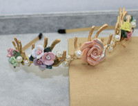 Fashion baroque ceramics flower hairbands crown gold plated vintage pearls bridal tiara headbands wholesale!!