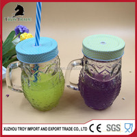 New Desidned Transparent Animal-Shaped Glass Mason Jar With Handle 400ml