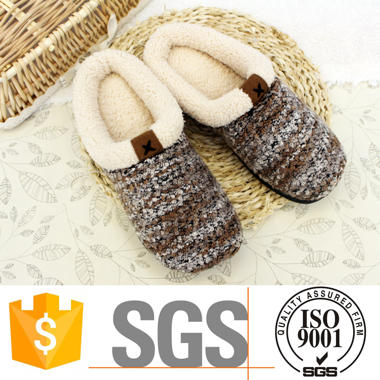 Side seam woolen yarn winter warm women indoor slippers