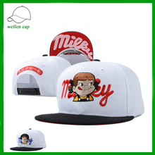 Japanese flat embroidery printed underbrim girls snapback cap manufacturer