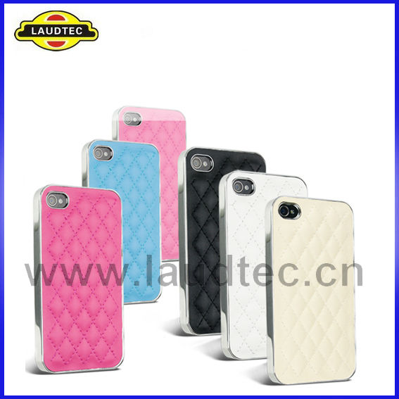 New Stylish Deluxe Leather Chrome Case for iPhone 4 4S,Back Hard Case Cover--Laudtec
