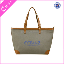 Alibaba canvas tote bag leather handles, standard size canvas tote bag