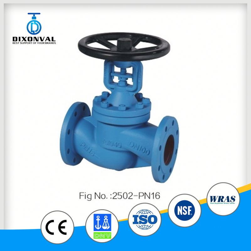 cast iron din bellows flange globe valve pn16