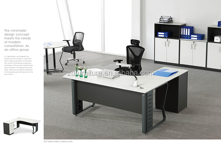modern office executive L shaped desks with metal frame (AIBIK12)