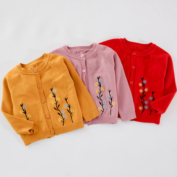 girls cardigan sweater baby embroidery flower jacket children thick spring and autumn coat