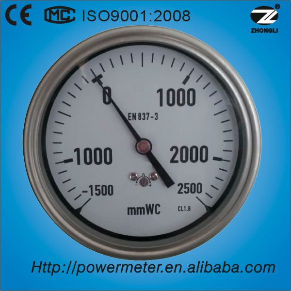 100mm back connection satinless steel case high quality -1500 mmWC to 2500 mmWC low pressure gauge