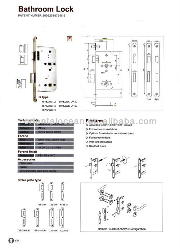 CE certification Stainless Steel Office/Bathroom /Hotel lock