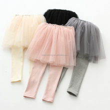 Wholesale candy colored tulle pants leggings baby girls cotton long culottes dresses