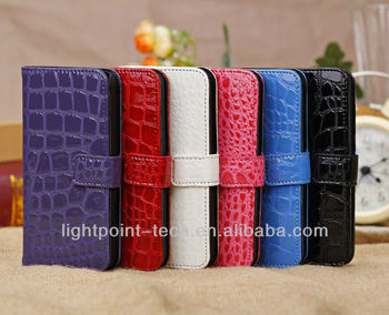 crocodile skin leather case for iphone5c With Stand Function