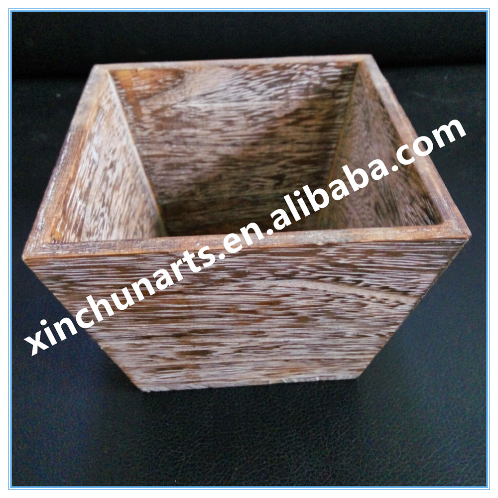 Garden Decorative Square Roasted Wooden Flower Planter Pot Wooden Trays