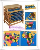 Montessori Puzzle Map of World Parts,Montessori materials toys
